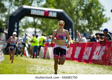 Boulder, CO -- June 11, 2016: Ellie Salthouse outsprints Jeanni Seymour to win the pro women's race in 4:11:43 to Seymour's 4:12:00 at the Ironman 70.3 Boulder.