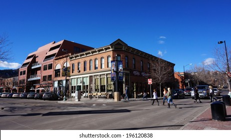BOULDER, COLORADO, JANUARY 27, 2014: Visitors visit the downtown areas of Boulder, Colorado. Boulder Downtown area, including the Pearl Street Mall, is in the western part of present-day Boulder.