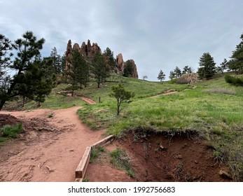 Boulder, Colorado - May 17, 2021: Red Rocks park trail view in Boulder, Colorado