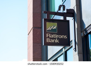 Boulder, Colorado / United States of America - September 8th, 2019 : Flatirons Bank Sign on the side of a building.