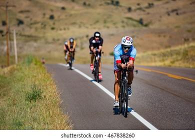Boulder, Colorado, USA - August 7, 2016: Athletes compete at Ironman Boulder.