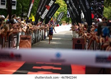 Boulder, Colorado, USA - August 7, 2016: Hawaiis Lectie Altman wins Ironman Boulder in 10:01:09.