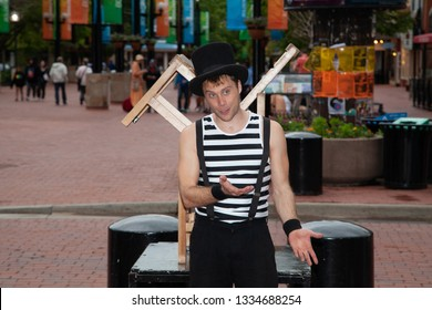 Boulder, Colorado USA - May 25th, 2015 Athletic Performer Busking On Pearl Street