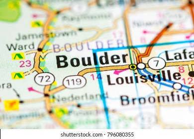 Boulder. Colorado. USA on a map