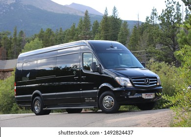 Boulder County, Colorado August 31, 2019: Mercedes-Benz Sprinter, a light commercial vehicle, with mountains in the background