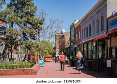 Boulder, MAY 5: Stores on Pearl Street on MAY 5, 2017 at Boulder, Colorado