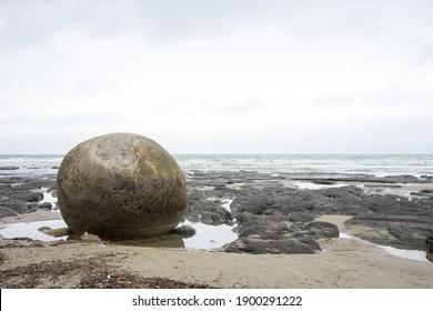Boulder on the beach at Moeraki Boulders Beach in New Zealand