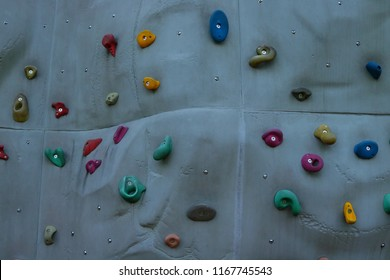 Bouldering wall at evening park
