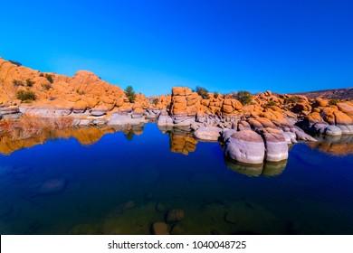 The boulders and cliffs surrounding Watson Lake in the Granite Dells of Prescott, Arizona, create many beautiful patterns.