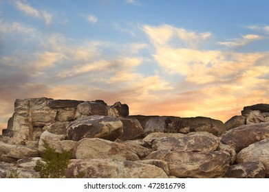 Boulders in Desert Sunset