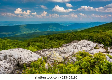 Boulders and eastern view of the Appalachian Mountains from Bear Rocks Preserve, Monongahela National Forest, West Virginia.
