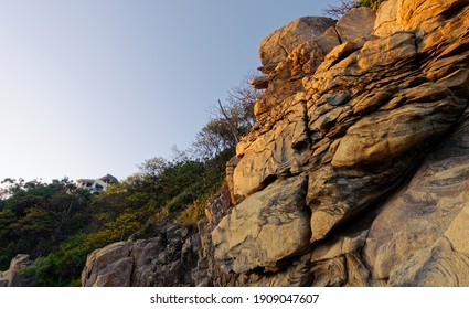 Boulders and rocky stones on the coastline of Mexico