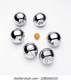 Boules balls on white background