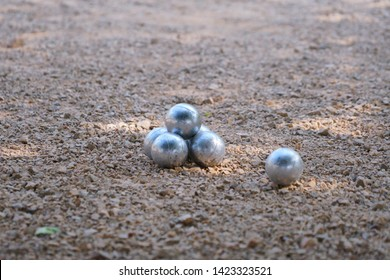 Boules were placed in the gravel field.