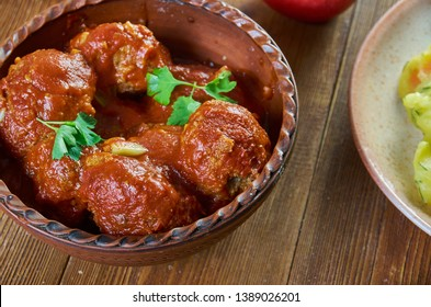 Boulettes sauce tomate. Belgian Meatball, national  cuisine, Traditional assorted Asia dishes, Top view.