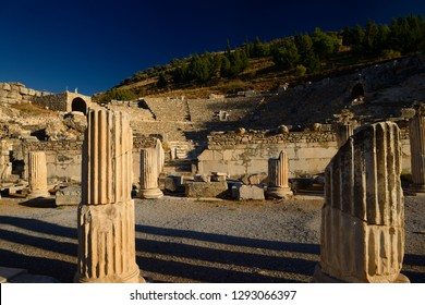 Bouleuterion for council meetings and small theatre Odeon for concerts in ancient Ephesus, Selcuk, Izmir, Turkey - November 10, 2012