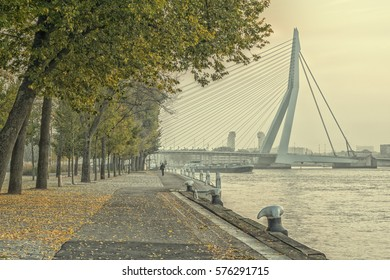 Boulevard next to a river on a autumn morning with a view on a bridge