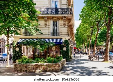Boulevard Saint-Germain in Paris, France. Boulevard Saint-Germain is a major street in Paris. Architecture and landmarks of Paris. Postcard of Paris