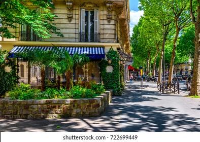 Boulevard Saint-Germain in Paris, France. Boulevard Saint-Germain is a major street in Paris. Cozy cityscape of Paris. Architecture and landmarks of Paris.