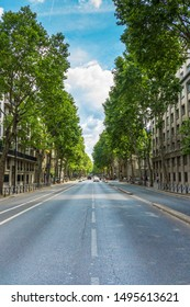 Boulevard Saint-Germain in Paris, France. The Boulevard Saint-Germain was the most important part of Haussmann's renovation of Paris (1850s and '60s) on the Left Bank. High Resolution Image.