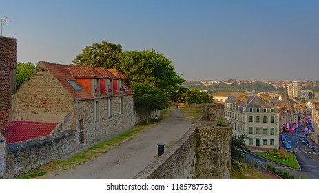 BOULOGNE SUR MER, JULY 25, 2018, Streets of Bulogne sur Mer, Oise France, view from above from the medieval city walls in early morning sun. Boulogne sur mer, 25 July 2018