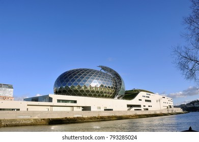 BOULOGNE-BILLANCOURT, FRANCE - DECEMBER 28, 2017: The Seine Musical is a set of buildings devoted to music and forming a vessel