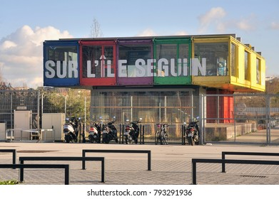 BOULOGNE-BILLANCOURT, FRANCE - DECEMBER 28, 2017: Color construction used to present future projects on Ile Seguin in Boulogne Billancourt