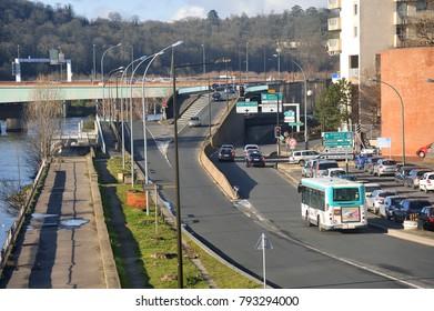 BOULOGNE-BILLANCOURT, FRANCE - DECEMBER 28, 2017: View of a district of Boulogne Billancourt since Ile Seguin