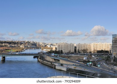 BOULOGNE-BILLANCOURT, FRANCE - DECEMBER 28, 2017: View of a district of Boulogne Billancourt since Ile Seguin