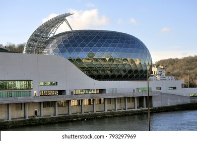 BOULOGNE-BILLANCOURT, FRANCE - DECEMBER 28, 2017: The Seine Musical is a set of buildings devoted to music and forming a vessel, it is open to all and all shows and is located in Boulogne Billancourt