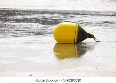 Boulogne-sur-mer, France - August 2019 : Buoy on the beach