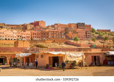 Boumalne Dades, Morocco - October 31, 2016: Here are happening large markets in Boumalne Dades