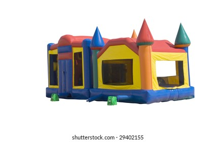 bounce house for kids formed like a colorful castle