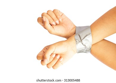Bound hands isolate on white background.