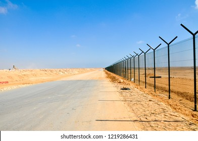A boundary fence of the desert