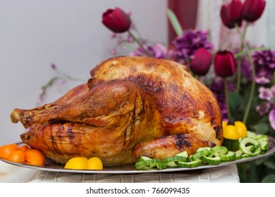 Bountiful Thanksgiving Table Full of Appetizing Food
