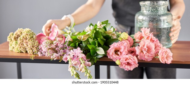 Bouquet 001, step by step installation of flowers in a vase. Flowers bunch, set for home. Fresh cut flowers for decoration home. European floral shop. Delivery fresh cut flower.