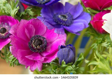 Bouquet anemone in pink and purple
