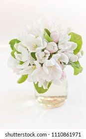 bouquet of apple tree flowers on a light background