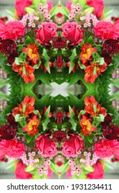 a bouquet arrangement abstract of red roses with astroemerias carnations and wax flowers 8031
