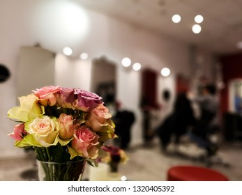 Bouquet of assorted roses at close-up in a hair salon