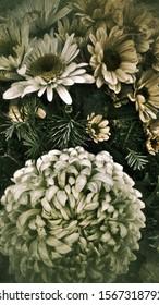 Bouquet of autumn flowers. Digital effects added.