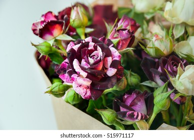 Bouquet of beautiful colorful roses.