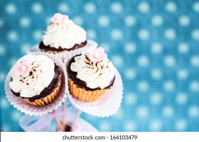 Bouquet of beautiful cupcakes / cake pops. For Mother's day or wedding. Selective focus