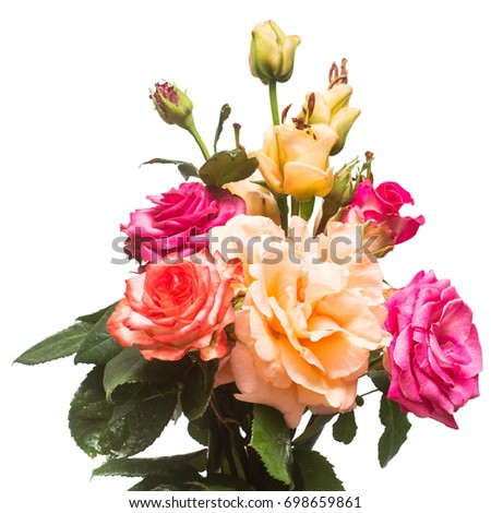 Bouquet Beautiful Flowers Rose Lily Apricot Stock Photo Edit Now