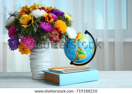 Bouquet Beautiful Flowers Vase Globe Books Stock Photo Edit Now