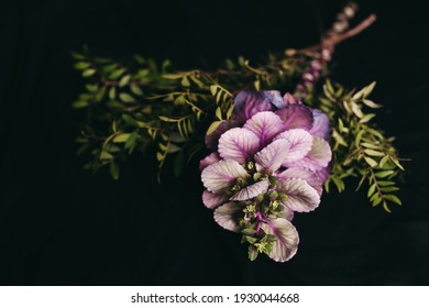 The bouquet of beautiful mixed flowers on a black background. Purple flower looks like a cabbage and green leaves. Unusual original fresh bouquet. Dark still life composition.