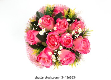 Bouquet of beautiful Pink roses isolated on white. A great gift to a woman for an anniversary, birthday, valentine's day or wedding