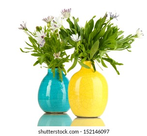Bouquet of beautiful summer flowers in color vases, isolated on white