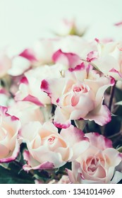 Bouquet of beautiful white pink roses, close up